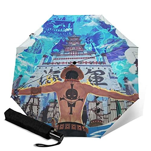 Anime One Piece Portgas D. Ace - Paraguas automático portátil de tres pliegues, resistente al viento, impermeable y anti-UV, paraguas plegable compacto y portátil