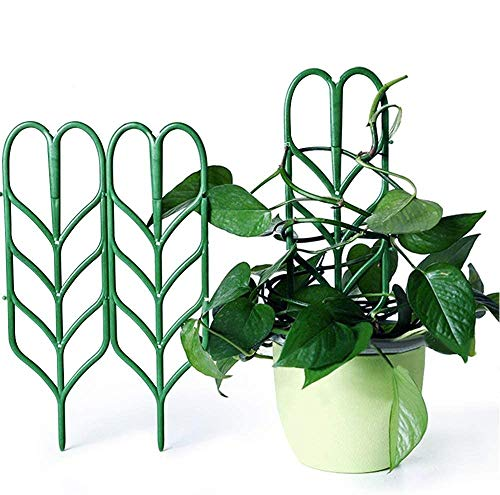 Seway Garden Trellis, Plant Trellis DIY for Potted Plant Support, Leaf Shape Mini Climbing Plants Flower Vegetables Rose Vine Pea Ivy Cucumbers Pots Support, 4 16