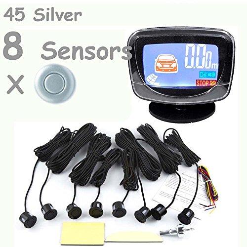 PolarLander Car LCD Display Parking Sensor LCD 8 Reverse Parking Sensors Backup Radar Car Detector System Kit for All The Car 1set Silver