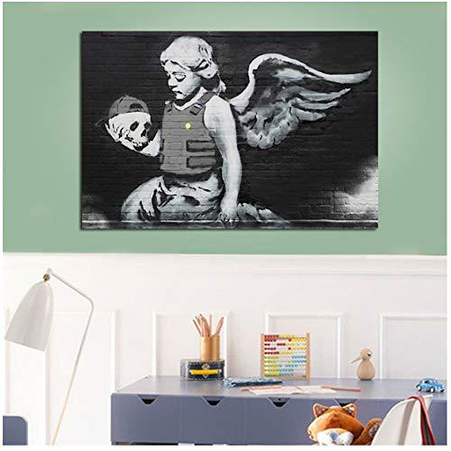 Banksy Angel Met Kogelvrij Vest Canvas Schilderij Prints Woonkamer Home Decor Kunstwerk Moderne Muurschildering Posters -50x70cm Geen Frame