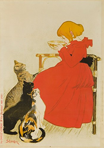 Lait Pur Sterilise (w - o letters) Poster (artist: Steinlen, Theophile Alexandre) France c. 1896 (36x54 Giclee Gallery Print, Wall Decor Travel Poster)