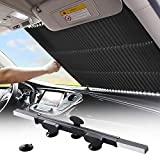 Retractable Windshield Sun Shade for Car, Large Sun Visor Protector Blocks 99% UV Rays to Keep Your Vehicle Cool, Auto Sunshade Fits Front Window of Various Models with Suction Cups