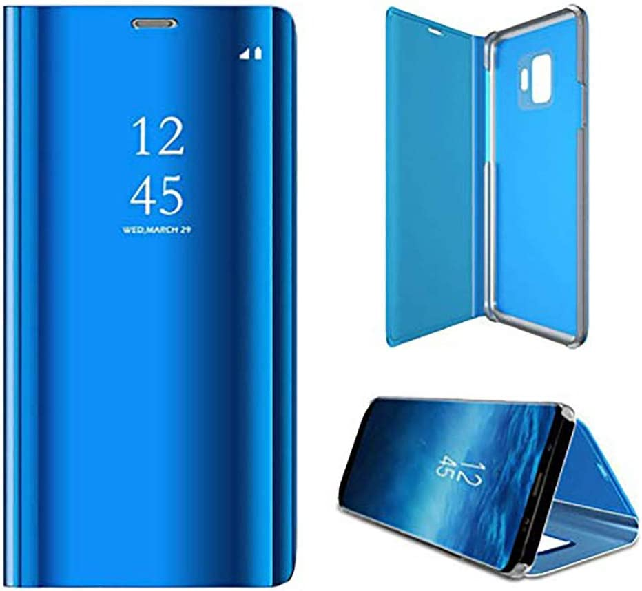 Anyos Galaxy S9 Case, Clear View Standing Mirror Flip PC Cover for Samsung Galaxy S9,Blue