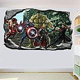 Pegatinas de pared Acción de superhéroe Pegatina de pared grande Arte 3D Pegatina Mural Decoración de habitación