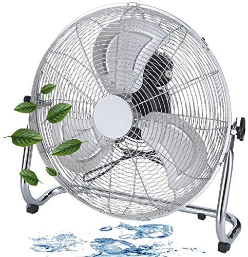 Bodenventilator | Ø46 cm | 102 m³/min Luftdurchsatz | 1.250 U./min | 3 Geschwindigkeitsstufen | Power Windmaschine | Luftkühler | Standlüfter | Raumkühler | Standventilator | Ventilator (Vollmetall)