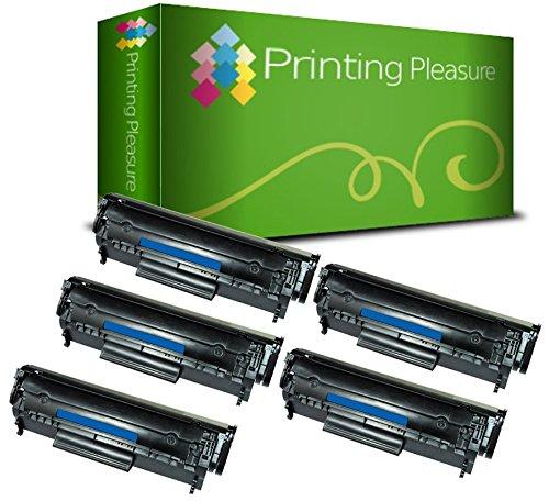 Printing Pleasure Compatible Q2612A FX-10 703 Cartucho de tóner para HP Laserjet 1010 1012 1015 1018 1020 1022 3010 3015 3020 3030 3050 Canon LBP2900 LBP2900i LBP3000 MF4120 - Negro, Alta Capacidad