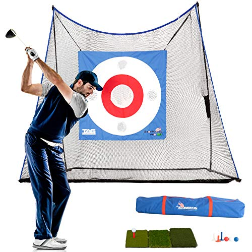 The Adventure Guys - Heavy Duty 10X7 Golf Practice Net w/ Turf, Tees, and Balls - Deluxe Golf Nets for Backyard Driving - Premium Golf Net and Mat - Strong Golf Driving Net and Golf Hitting Net