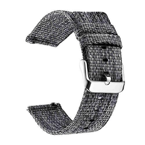 WSGGFA Banda de Nylon para Samsung Galaxy Watch 3 Gear S3 Frontier 46 42mm Active 2 Wrist Sport Loop para Huawei Watch Amazfit 20 18 22 24mm (Band Color : Grey, Band Width : 24mm)