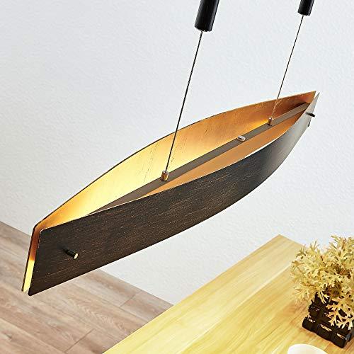 Lindby Modern Moderne ovale Hängelampe schwarz mit Gold/Messing inkl. LED und Dimmer - Lio Touch-funktion Dimmer/Dimmbar/Innenbeleuchtung/Wohnzimmerlampe/Schlafzimmer/Küche Stahl Länglich