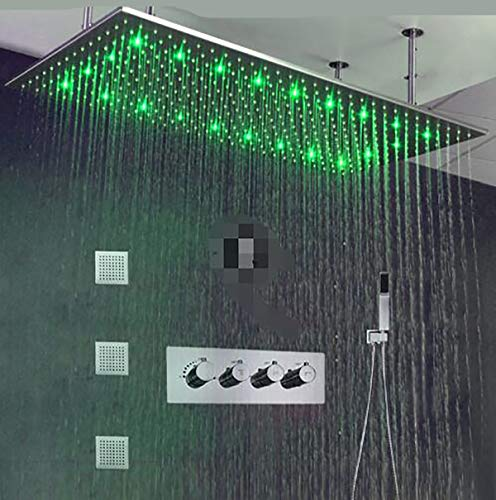 Great Price! TQ Luxury Bathroom Ceiling LED Rain Shower Set 5001000mm Brushed Big Rainfall Shower He...