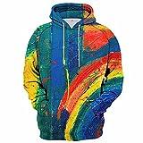 MITEHUAH Mezcla de gradiente Multicolor Color Digital Personalidad Suéter con Capucha Hombres y Mujeres Cuatro Temporadas Novel Sudadera con Capucha (Color : C, tamaño : XXL)