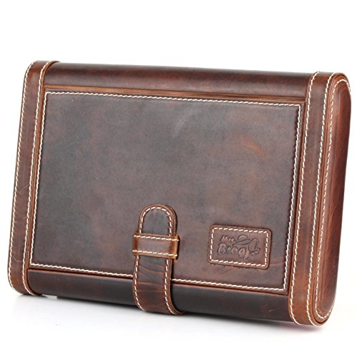 Leather Cigar Humidor Slim Box Cedar Wood for Travel or Desktop - Two Tone Aniline Leather - [Tan]