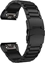 LDFAS Fenix 6 Pro/5 Band, Sport Quick Release Easy Fit 22mm Stainless Steel Metal Strap with Safety Buckle Compatible for Garmin Fenix 5 5 Plus 6 6 Pro/Forerunner 935 Smartwatch