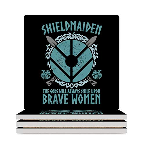 Vikings Shield Maiden Brave Women Ceramic Art Tile Coaster Bar Coaster 4' x 4', Non-Slip Tape with Cork Sleeve, Four-Piece Set
