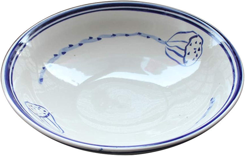 Saladier bols bols en porcelaine bol en céramique bol à mélanger légumes de terre argile bol à la vapeur ferme fait à la main bol de vin décoration racine de lotus (Couleur   bleu-12INCH)