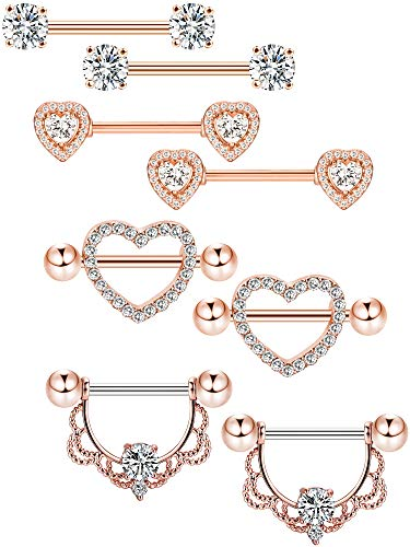 Tatuo 4 Pairs Stainless Steel Nipple Rings Tongue Ring Piercing Body Jewelry Barbell CZ Heart Shape Rings for Women Girls (Color 2)