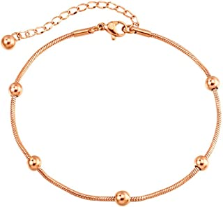 CXQ Fashion Simple Temperament Beads Rose Gold Anklet Foot Ring Couple Jewelry Accessories Gift