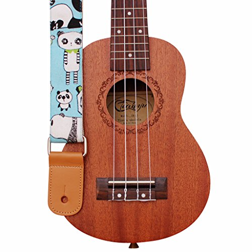 "MUSIC FIRST Original Design ""PANDA"" Soft Canvas & Genuine Leather Ukulele Strap Ukulele Shoulder Strap"