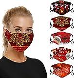 5 Stück Mund und Nasenschutz mit Weihnachten Motive, Erwachsene Einweg Mundbedeckung Atmungsaktiv...