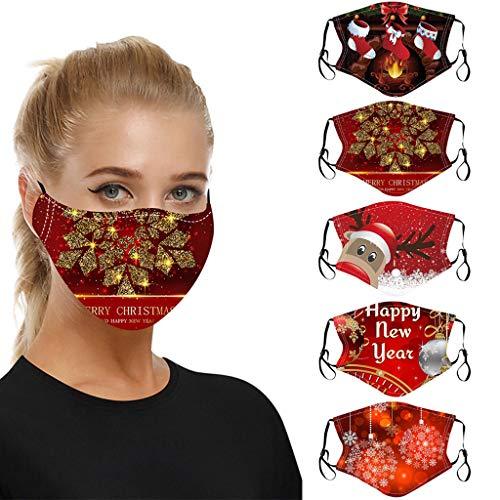 Lomelomme 5 Stücke Weihnachtsmaske Lustig Mundschutz mit Motiv Christmas Atmungsaktiver Stoff Waschbar Wiederverwendbar Staubdicht Mund und Nasenschutz Halstuch