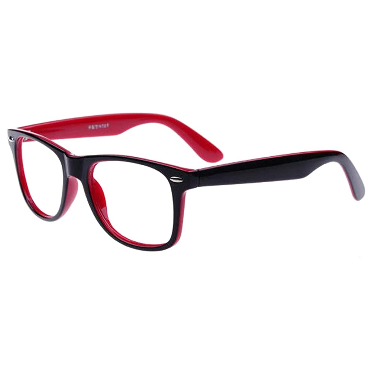 Blue Light Blocking Computer/Gaming Readers Glasses Anti Glare Anti Eyestrain Clear Lens Visual Color Real Round Vintage Hipster Frame,0.00,No Magnification (Outside Black Inside red)