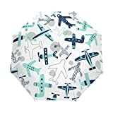 Paraguas de viaje compacto con patrón de avión, para el aire libre, lluvia, coche, plegable, resistente al viento, toldo reforzado, protección UV, mango ergonómico, apertura y cierre automático