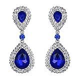BriLove Silver-Tone Dangle Earrings Women's Wedding Bridal Fashion Crystal Teardrop Infinity Earrings Royal Blue Sapphire Color