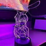 Luz nocturna 3D LED luces de noche 3D Conejito Niña Senpai MAI SAKURAJIMA Kawaii Multi Color Cambiante Lampara para Regalo de Navidad Anime Luz Lámpara ZGLQ