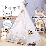 TreeBud Kids Teepee Tent with Floor Mat, Banner, Fairy Lights, Yarn Ball, Carry Bag, Raw White Cotton Canvas Play Tent for Child, Foldable Playhouse for Indoor Outdoor Girl and Boy Play