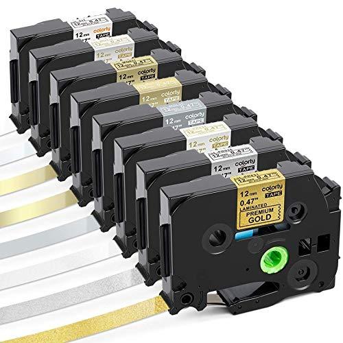 Colorty Compatible Label Tape Replacement for Brother P touch Label Maker Tape Gold Glitter TZe Tape 12mm 0.47 Inch Laminated White Matt Satin TZe-231 TZe-PR831 TZe PR935 PR234 MQL35 MQ835 MQ831 MQ934