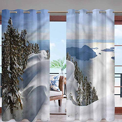Hiiiman Fade Resistant Blackout Curtains with Grommet Top Pacific Ocean Mountains W84 x L96 for Sliding Door, Patio, Pergola, Porch, Deck, Lanai, and Cabana