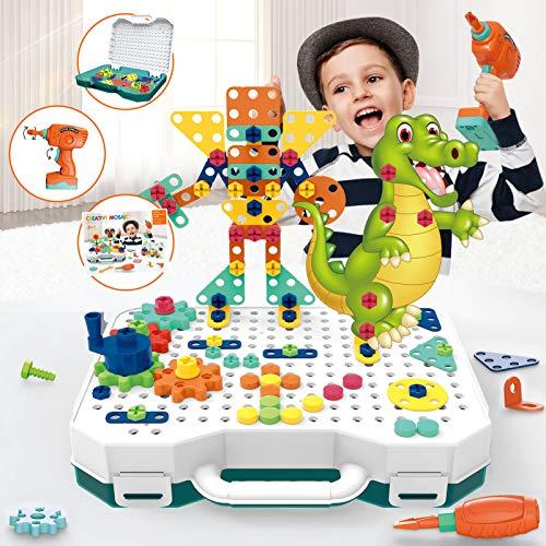Chiodini per Bambini Giochi Montessori con Animali Puzzle 3D, Scatola Degli Attrezzi per la Costruzione di Mosaico con Trapano Giocattolo per Bambini per Ragazzi Ragazze Bambini Piccoli (261 pezzi)