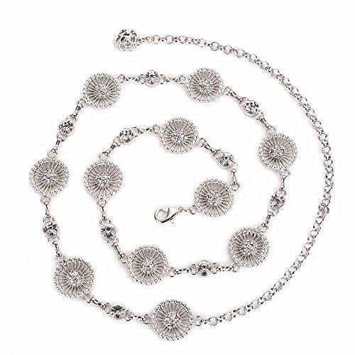 SAIBANGZI Ceinture en métal pour femme Robes de femme Simple circulaire doublé de diamant Chaîne de taille mode Loisirs et pull. Argenté 55-95 cm