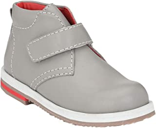 Hopscotch Tuskey Shoes Boys Genuine Leather/Lining Mesh Strap Closure Ankle Length Boots in Gray Color