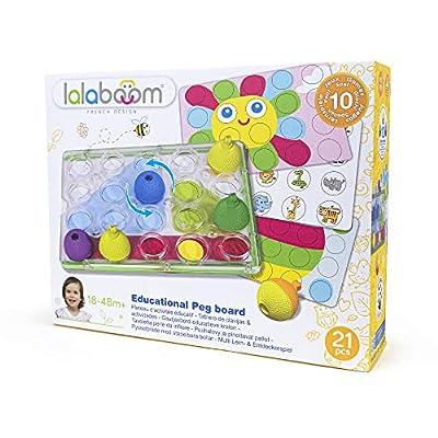 Lalaboom BL710 – Developmental Pegboard Bead Game 21 Piece Set– Match, Design, Pop, and Play — Montessori Method STEM Focus – Dishwasher Safe - Ages 18 Months - 4 Years
