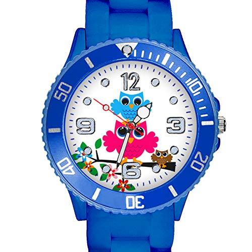 Taffstyle Kinder Armbanduhr Silikon Sportuhr Bunte Sport Uhr mit Blumen Eulen Familie Motiv Analog Quartz Little 34 mm Blau