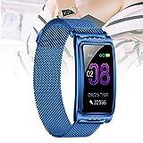 Reloj inteligente compatible con teléfonos Android e iOS,smartwatch a prueba agua,recordatorio de período fisiológico,pulsera inteligente para damas para hombres y mujere(Size:un tamaño,Color:azul)