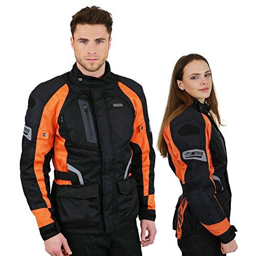 Motorradjacke -Spark- Sommer Winter Motorrad Roller Jacke Protektorenjacke Textil HerrenWasserdicht mitProtektoren - Schwarz-Neon-Orange - 2XL / XXL