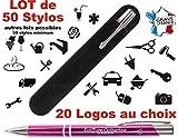 Lot de 50 Stylos personnalisé Logo pour Professionnels – Stylos société goodies - Stylo publicitaire gravé au nom de l'entreprise Objet de communication Cadeau Clients noël fin d'année (Violet)