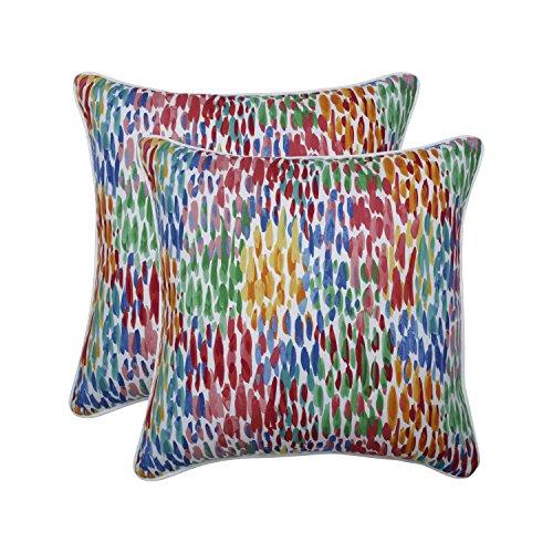 Pillow Perfect Outdoor | Indoor Make It Rain Zinnia 18.5-inch Throw Pillow (Set of 2), Blue
