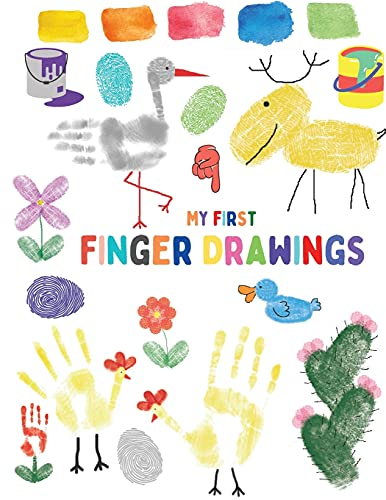 My first finger drawings: Cute animals finger painted, easy to draw for toddlers or small kids
