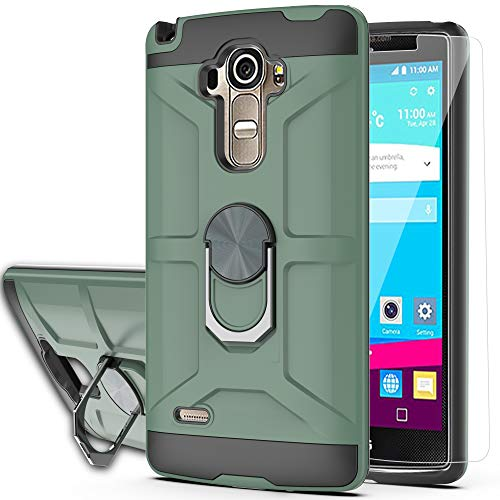 LG G Stylo Case,LG G4 Stylus Case (Not Fit LG G4) with HD Screen Protector YmhxcY 360 Degree Rotating Ring Kickstand Holder Dual Layers of Shockproof Phone Case for LG LS770-ZS Dark Green