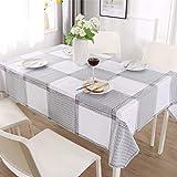 ENCOFT Manteles de Plástico para Mesas Rectangular de PVC Impermeable Mantel para Comedor Antimanchas Hules para Mesas Cocina Patrón Cuadro Negro Blanco 140x180cm