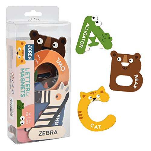 JCREN Jumbo Magnetic Letters Animals Alphabet Toys,Fridge Magnets Stick Colorful Paper ABC Alphabet Uppercase Toy Set Preschool Learning Spelling Refrigerator for 3 4 5 Year Old Toddler Kids Boy Girl
