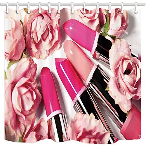 mintlmk Cosmetics douchegordijnen voor badkamer lippenstiften in koraal rose bloem voor tiener meisje polyester stof waterdichte bad gordijn douchegordijn haken inbegrepen 71X71in