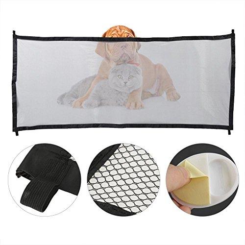 Puerta de seguridad para mascotas, color negro/beige, portátil, plegable para mascotas, puerta mágica para perros, seguridad para bebés y mascotas