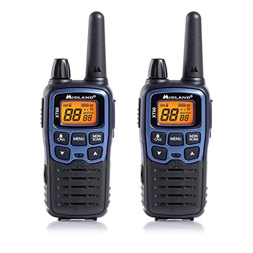 Midland C1179 XT60 - Radio Dual Band Ricetrasmittente Walkie Talkie Ricarica Rapida - Colore Blu Metallico - Formato 69 LPD e 24 PMR446, Raggio 10 km, 38 Toni, 83 Codici - Set di 2 Ricetrasmettitori