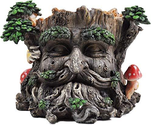 Tree Ent Face Plant Pot Holder Greenman Decorative Garden Myth Sculpture Planter H15cm