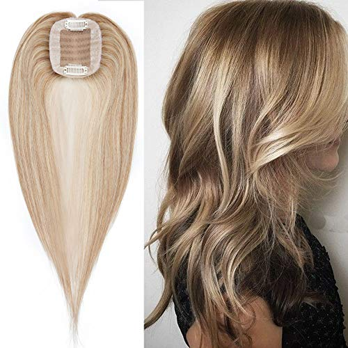 100% Real Human Hair Silk Base Top Hairpiece Clip in Topper Wig for Women Crown in Hand-made Toppee Middle Part with Thinning Hair Loss Hair #12P613 Golden Brown&Bleach Blonde 18''35g