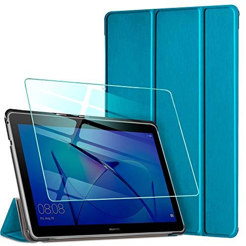 AROYI Funda Compatible con Huawei Mediapad T3 10 y Protector Pantalla, Carcasa Silicona TPU Smart Cover Case con Soporte Función para Huawei MediaPad T3 10 (9,6 Zoll) (Pavo Real Azul)